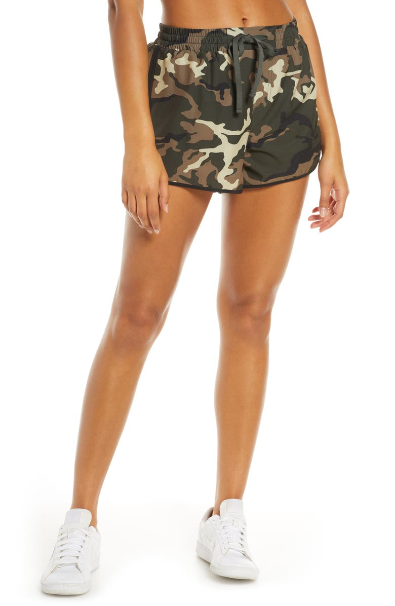 THE UPSIDE Forest Camo Running Shorts, Main, color, CAMO/ MULTI