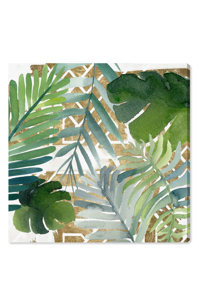 OLIVER GAL Introspect Palm Leaves Canvas Wall Art, Main, color, WHITE