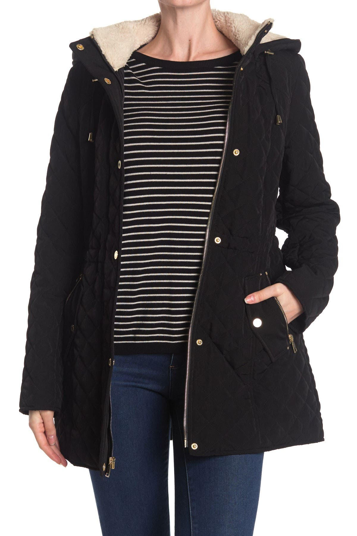 Image of Laundry By Shelli Segal Snap Front Quilted Jacket