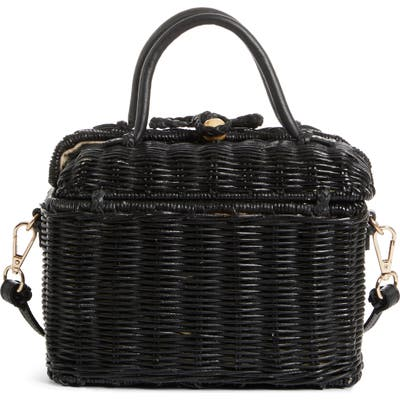 Ulla Johnson Woven Rattan Top Handle Bag - Black