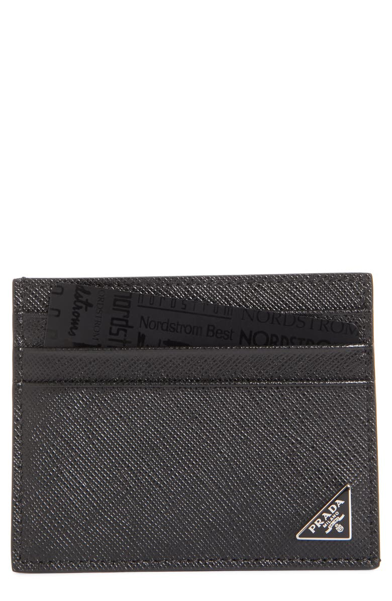 PRADA Triangle Logo Leather Card Case, Main, color, NERO