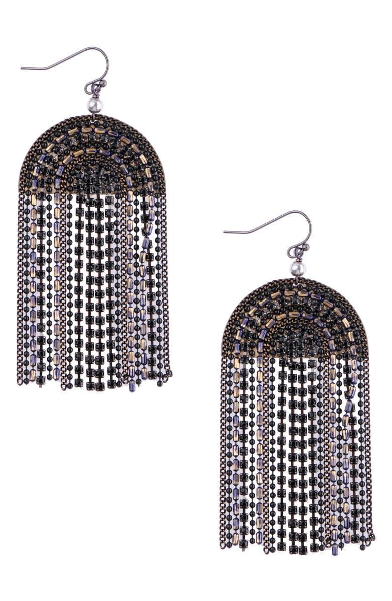 NAKAMOL CHICAGO Wide Umbrella Chain Earrings, Main, color, BLACK