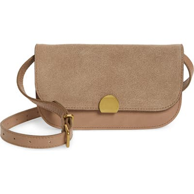 Madewell The Abroad Suede Convertible Crossbody Bag - Beige