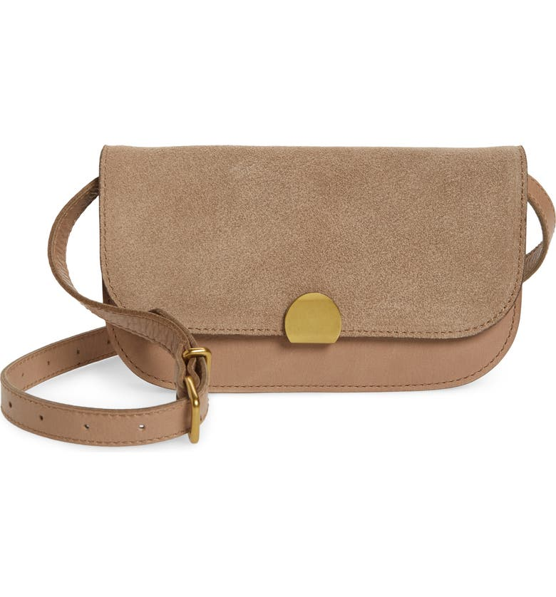 MADEWELL The Abroad Suede Convertible Crossbody Bag, Main, color, FADED BIRCH
