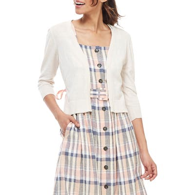 Gal Meets Glam Collection Back Tie Linen Blend Cardigan, Beige