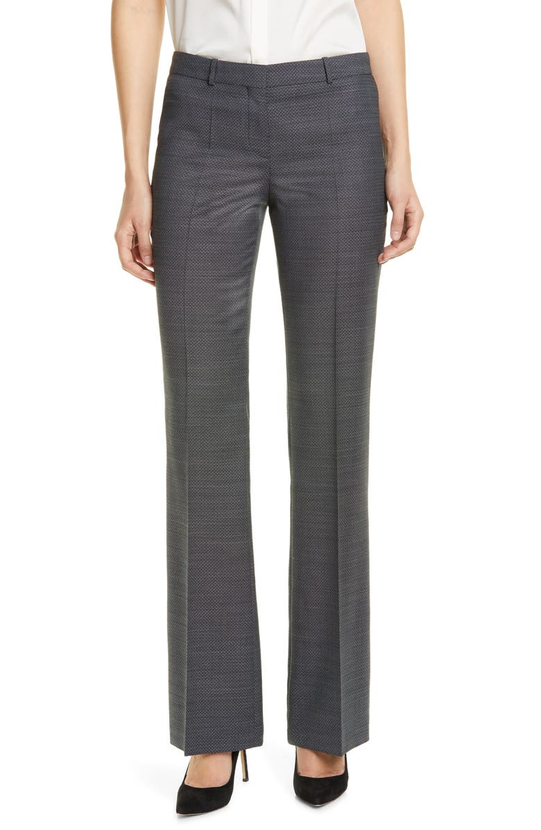 BOSS Tulea Micro Pattern Suit Trousers, Main, color, BLACK FANTASY