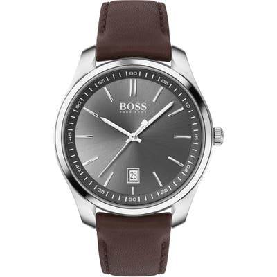 Boss Circuit Leather Strap Watch, 42Mm