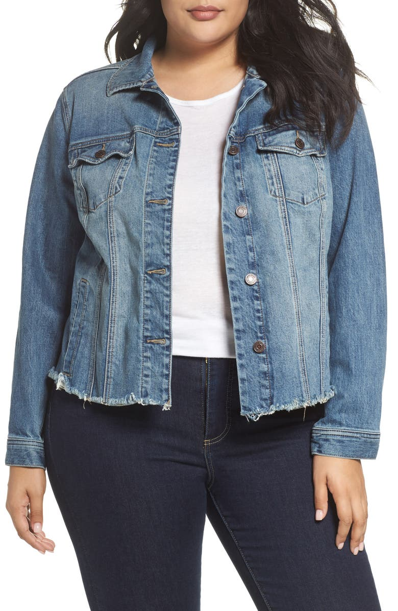 LUCKY BRAND Frayed Hem Denim Jacket, Main, color, 430