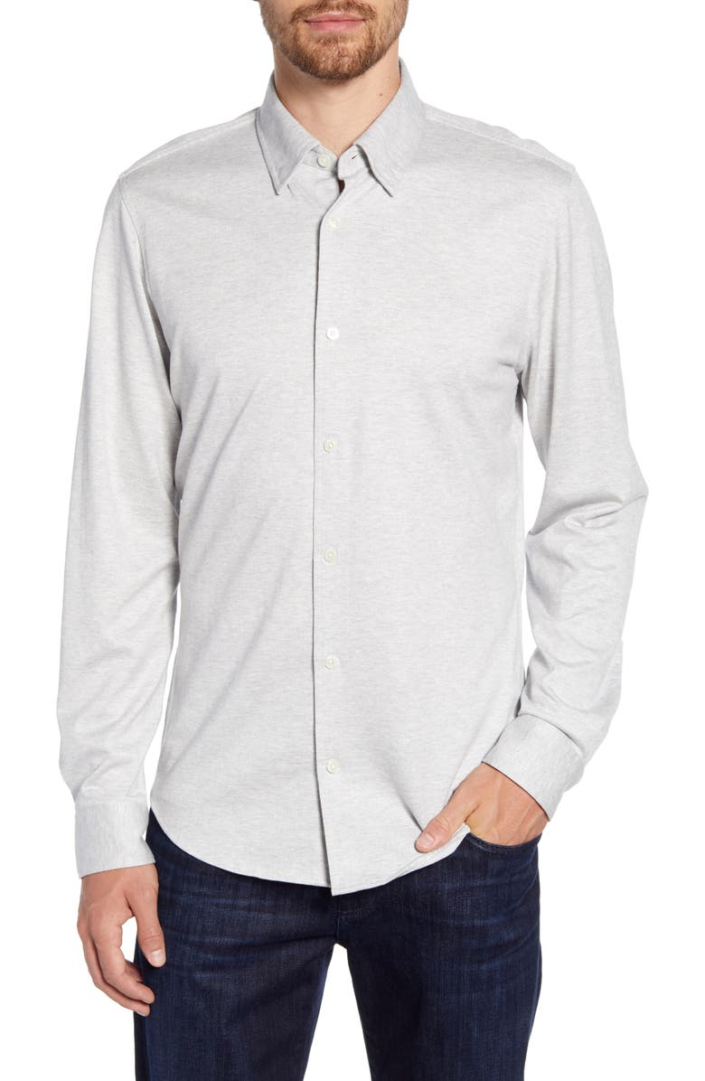 NORDSTROM SIGNATURE Regular Fit Knit Cotton Button-Up Shirt, Main, color, GREY ALLOY HEATHER