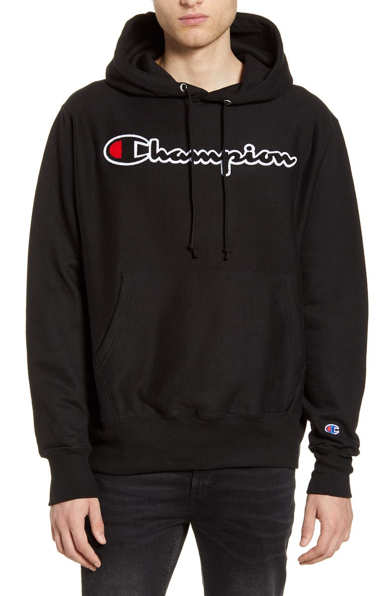CHAMPION Reverse Weave<sup>®</sup> Chenille Logo Hoodie, Main, color, BLACK