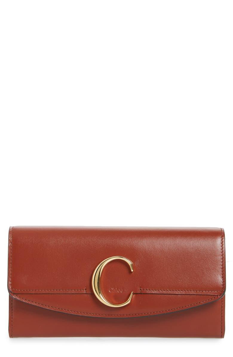CHLOÉ Long Calfskin Leather Flap Wallet, Main, color, SEPIA BROWN