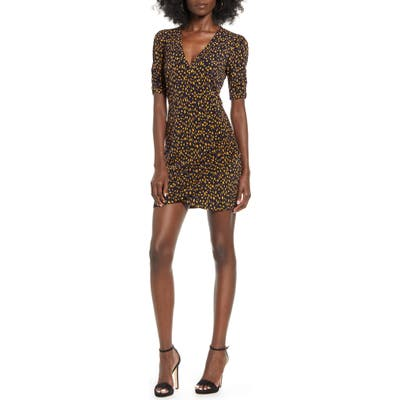 All In Favor Ruched Detail Minidress, Black