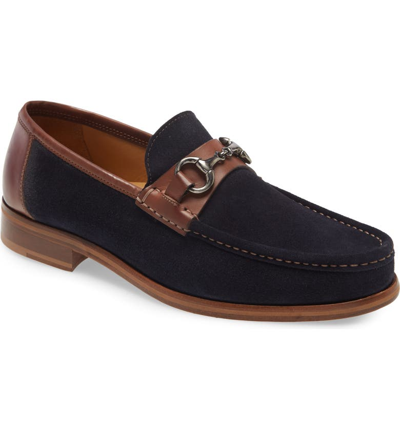 JOHNSTON & MURPHY Neilson Bit Loafer, Main, color, NAVY