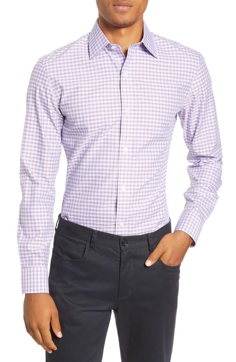 BONOBOS Slim Fit Plaid Dress Shirt, Main, color, GLENWORTH PLAID - DEEP BERRY