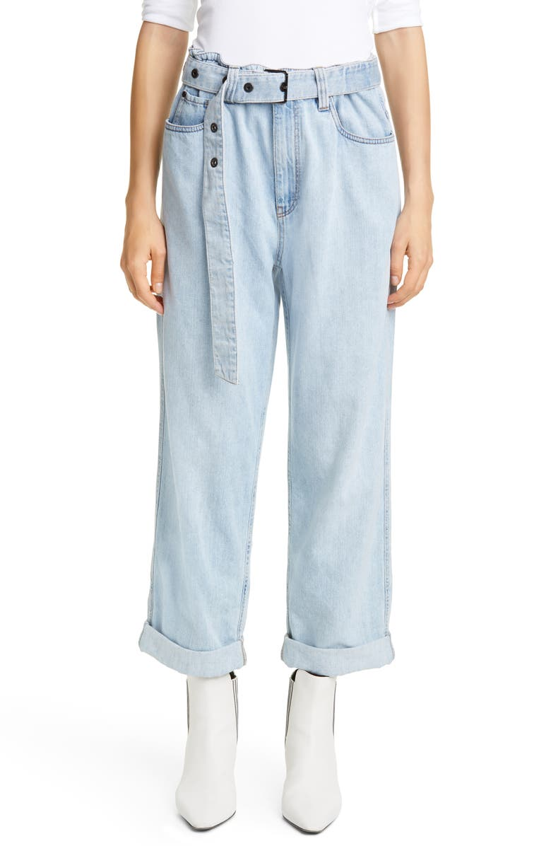 BRUNELLO CUCINELLI Belted High Waist Relaxed Straight Leg Jeans, Main, color, SNOW WASH