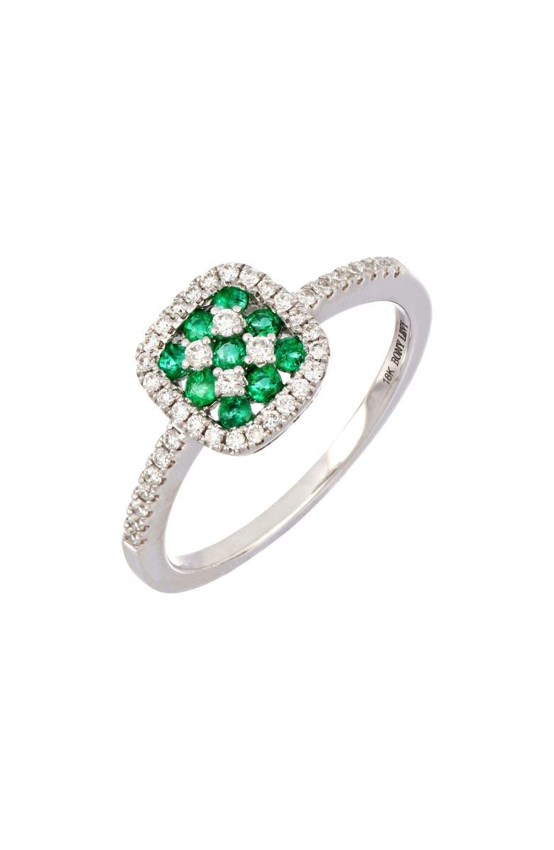 BONY LEVY Checkerboard Emerald & Diamond Halo Ring, Main, color, 711