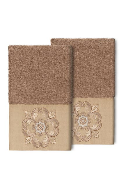 Image of LINUM HOME Alyssa Embellished Hand Towel - Set of 2 - Latte