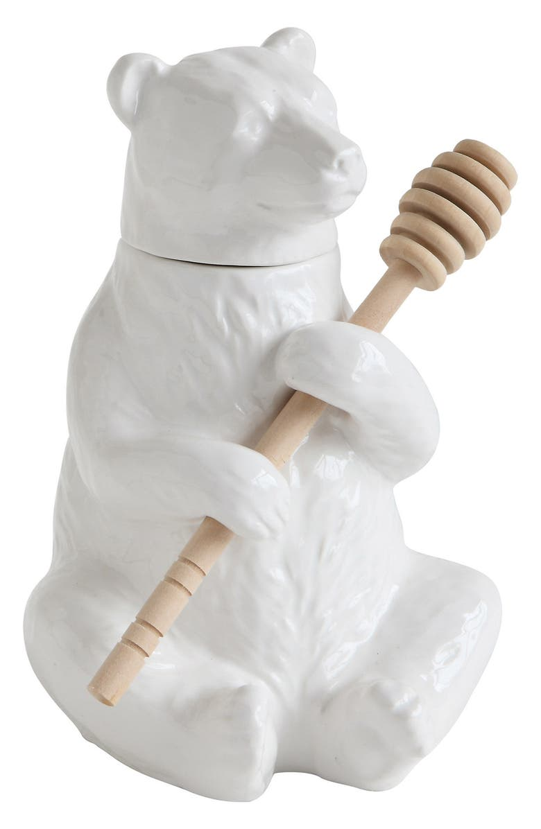 CREATIVE CO-OP Ceramic Bear Honey Pot, Main, color, 100