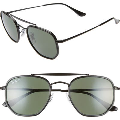 Ray-Ban 52Mm Polarized Irregular Aviator Sunglasses - Black/ Green Solid