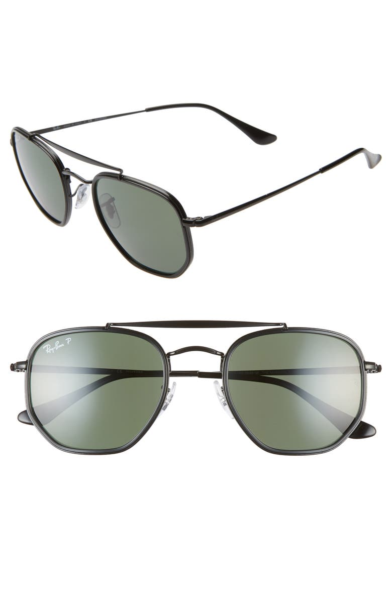 RAY-BAN 52mm Polarized Irregular Aviator Sunglasses, Main, color, BLACK/ GREEN SOLID