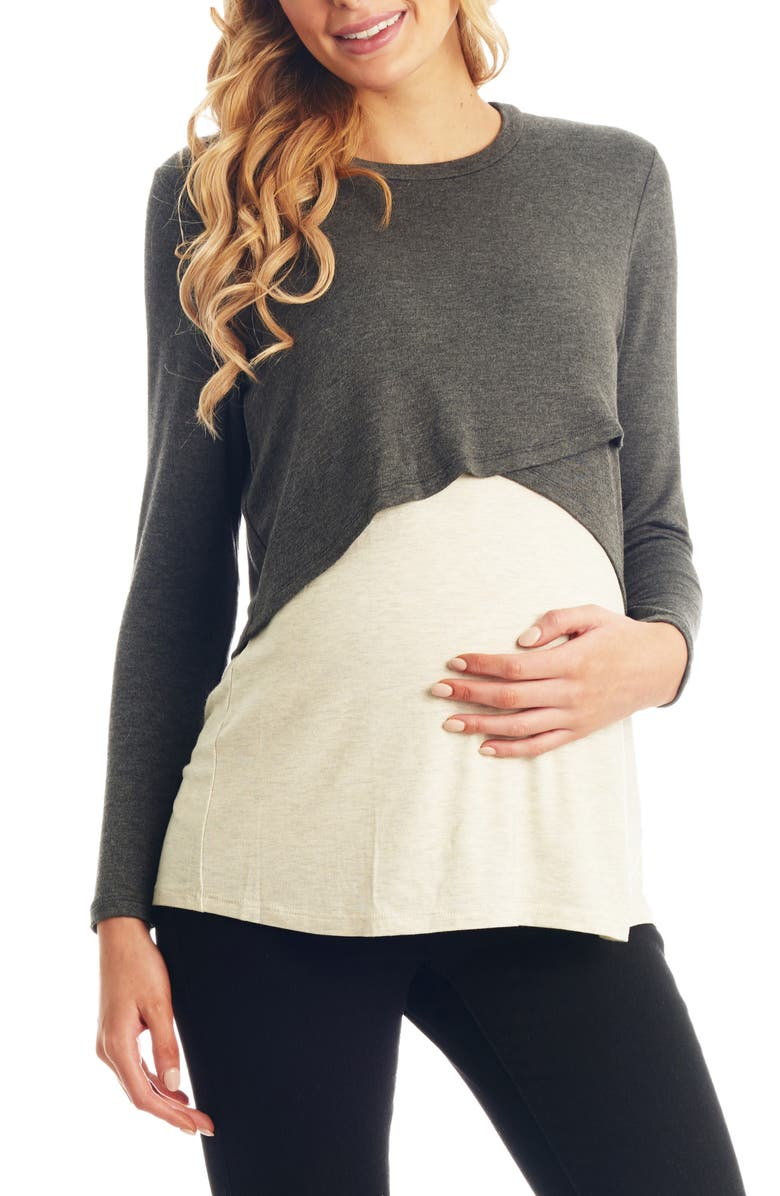 EVERLY GREY Clarissa Two-Piece Maternity/Nursing Top, Main, color, CHARCOAL