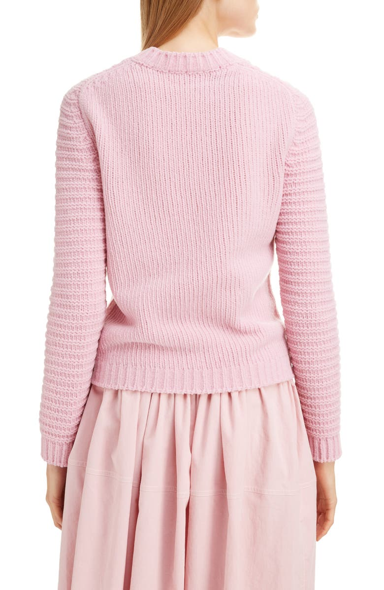 SARA LANZI Felted Chenille Crewneck Sweater, Main, color, PINK