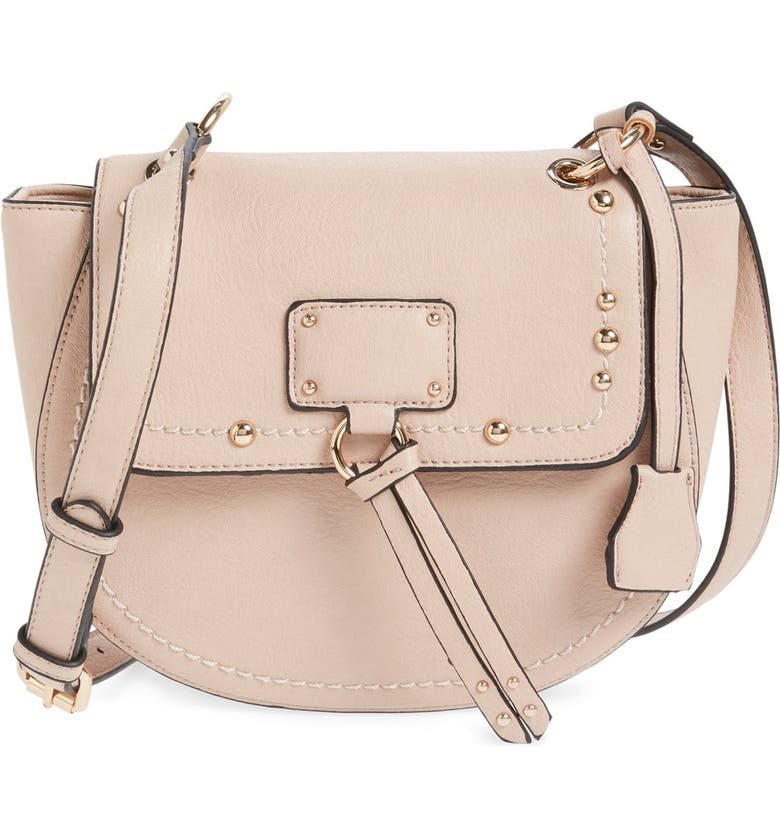 SOLE SOCIETY Studded Faux Leather Crossbody Bag, Main, color, 650