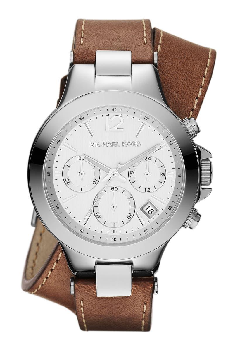 MICHAEL MICHAEL KORS Michael Kors 'Peyton' Double Wrap Leather Strap Watch, Main, color, 040
