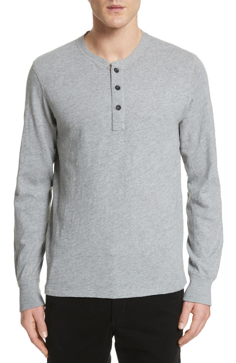 RAG & BONE Slub Cotton Slim Fit Henley, Main, color, GREY HEATHER