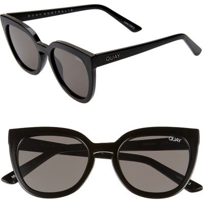 Quay Australia Noosa 50Mm Square Sunglasses - Shiny Black/ Smoke