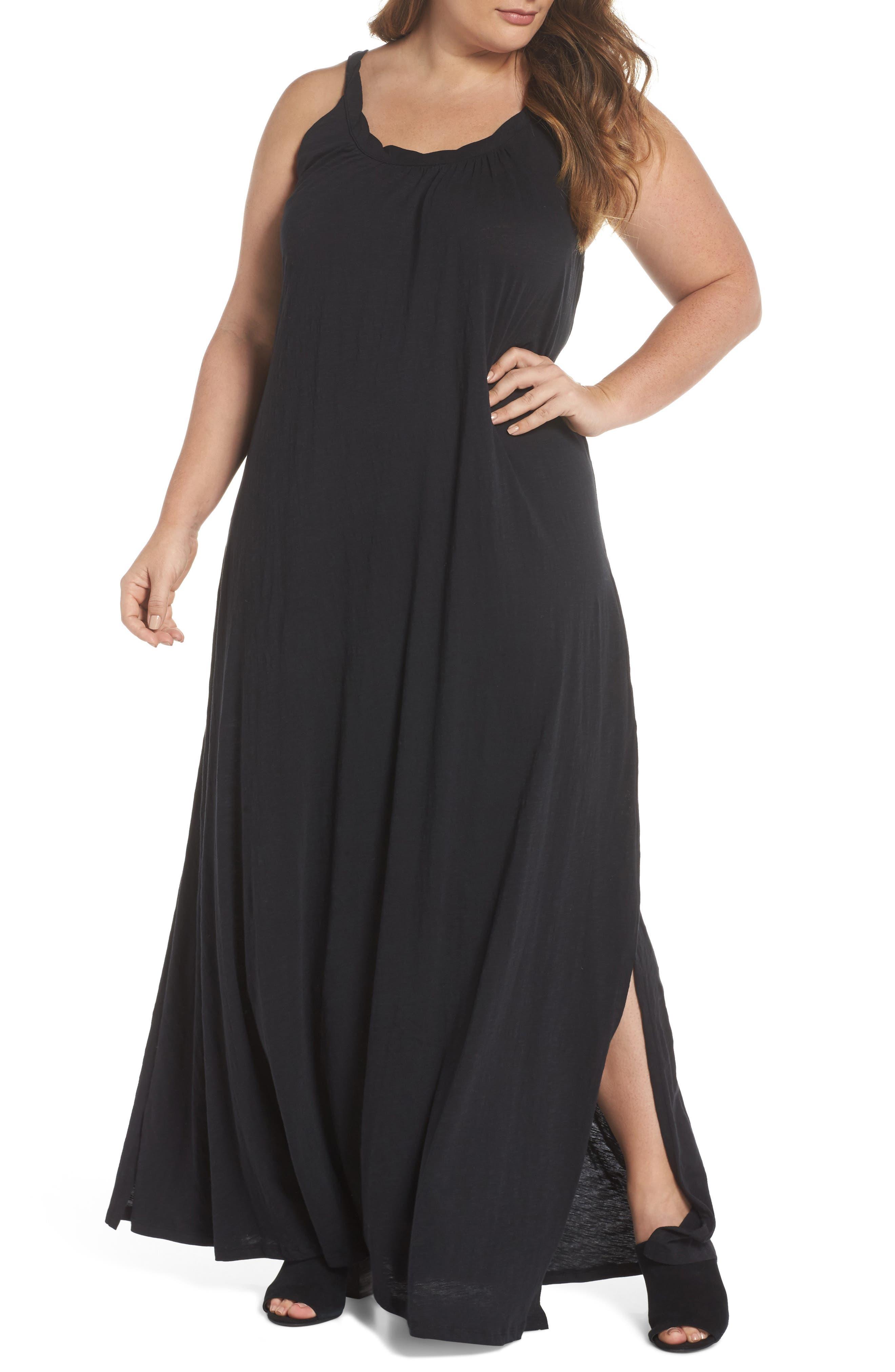 Plus Size Caslon Twist Neck Maxi Dress, Black