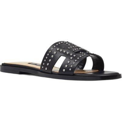 Nine West Genesia Studded Slide Sandal, Black