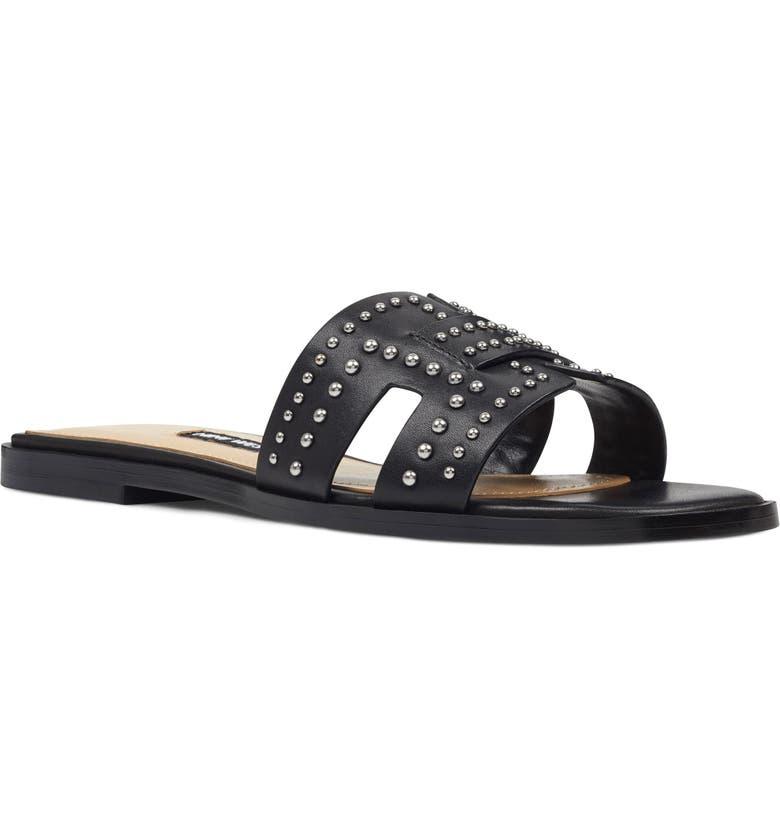 NINE WEST Genesia Studded Slide Sandal, Main, color, 001