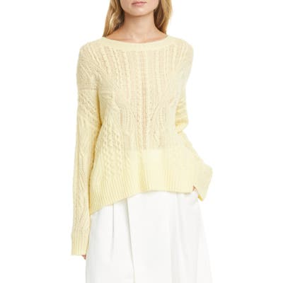 Vince Open Cable Knit Wool & Cashmere Blend Sweater, Yellow