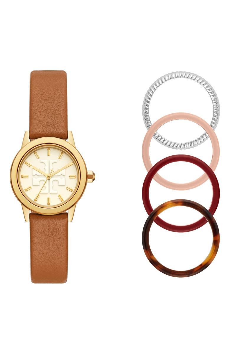 토리버치 Tory Burch Gigi Leather Watch & Top Rings Set, 28mm,gold/ luggage