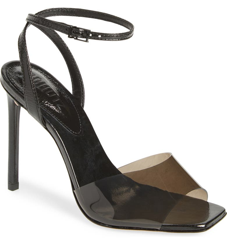 SCHUTZ Jamili Clear Ankle Strap Sandal, Main, color, FUME/ BLACK