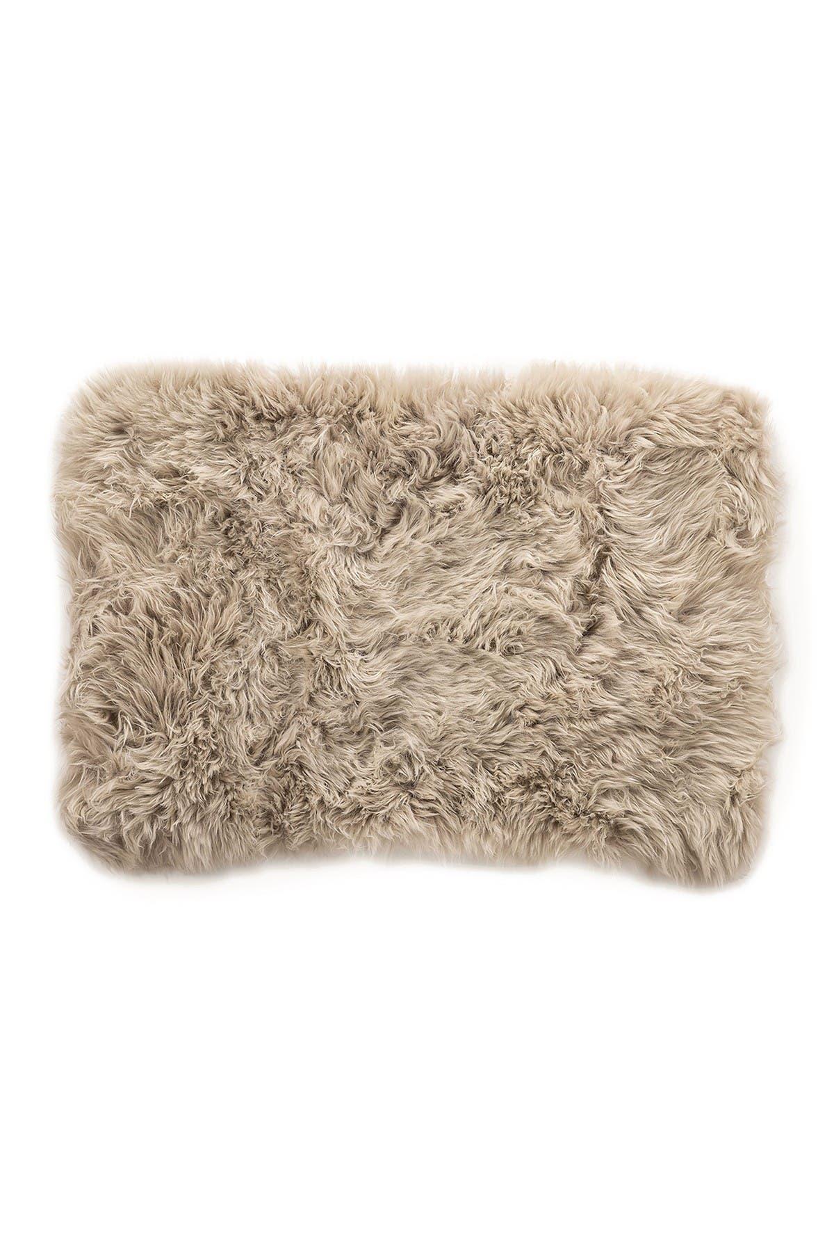 Image of Natural New Zealand Rectangular Sheepskin Throw - 2ft X 3ft - Taupe