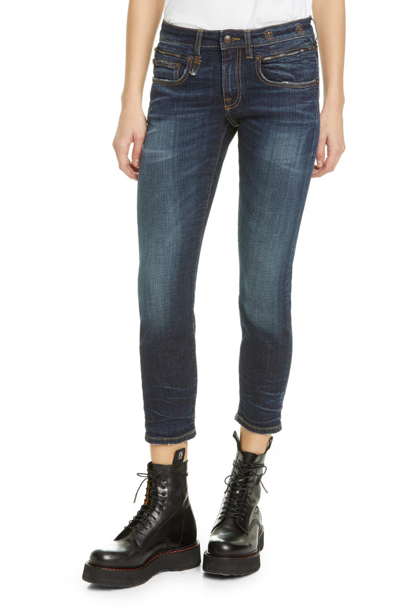 R13 Biker Boy Ripped Crop Skinny Jeans, Main, color, HOWELL INDIGO