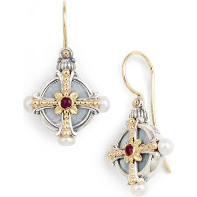 Konstantino Etched Silver Pearl & Ruby Drop Earrings