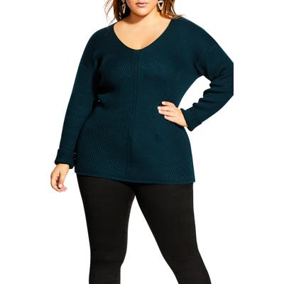 Plus Size City Chic V-Neck Sweater, Green