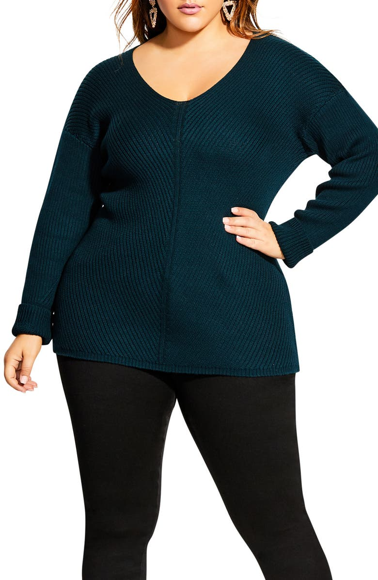 CITY CHIC V-Neck Sweater, Main, color, 320