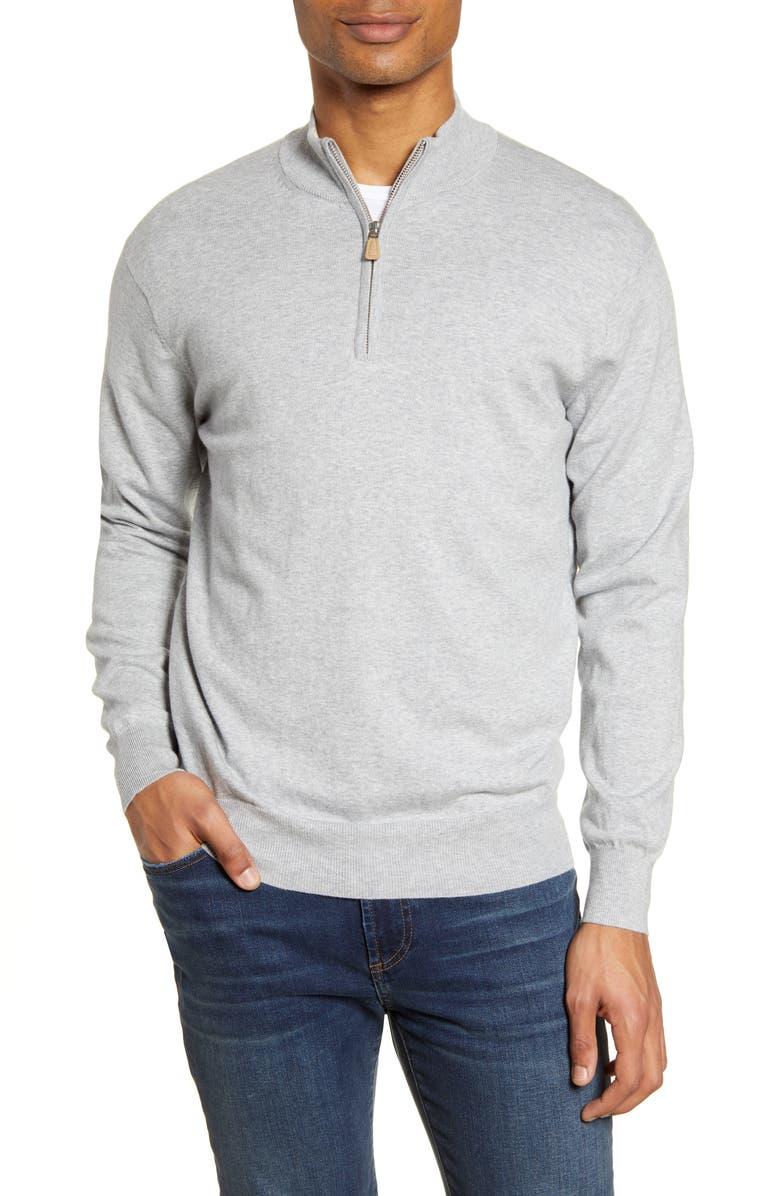PETER MILLAR Crown Quarter Zip Pullover Sweater, Main, color, BRITISH GREY