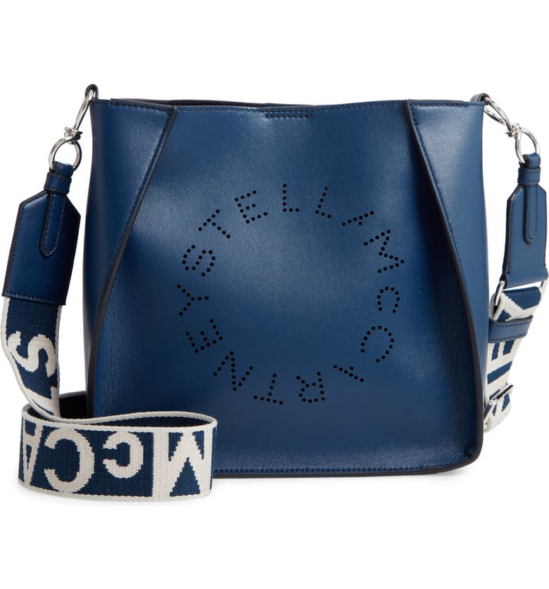 STELLA MCCARTNEY Perforated Logo Faux Leather Crossbody Bag, Main, color, DENIM BLUE