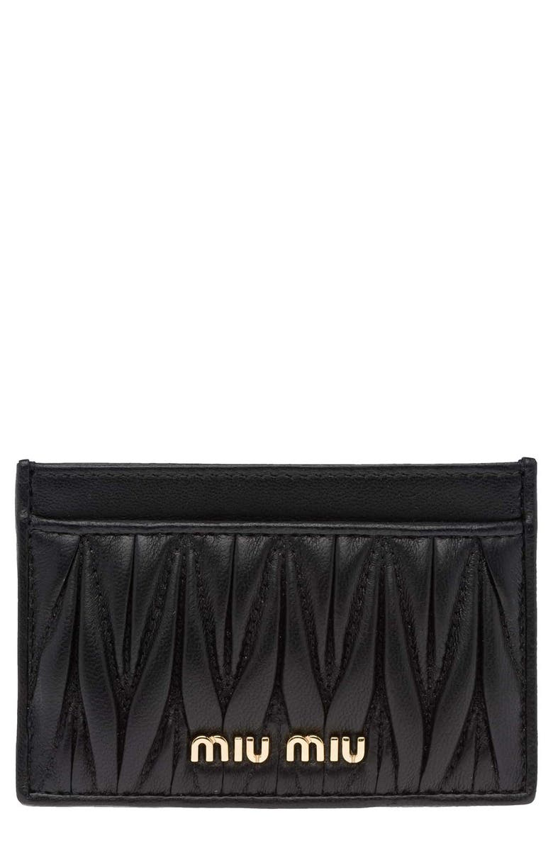 MIU MIU Matelassè Card Case, Main, color, NERO