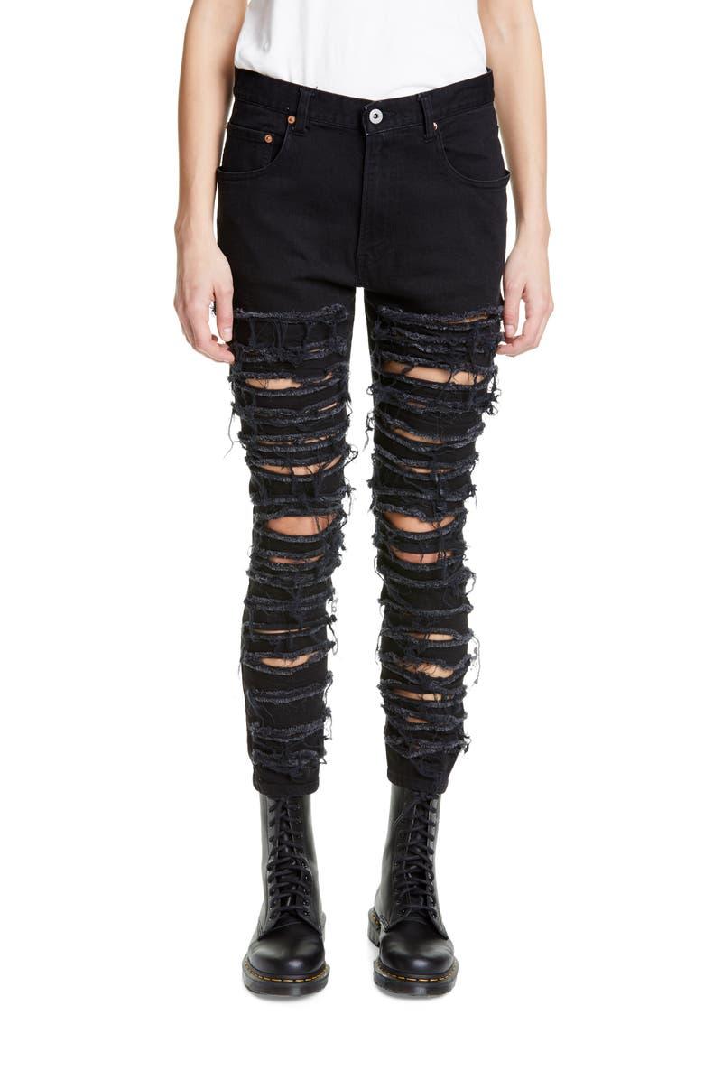 JUNYA WATANABE Shredded Stretch Skinny Jeans, Main, color, 001