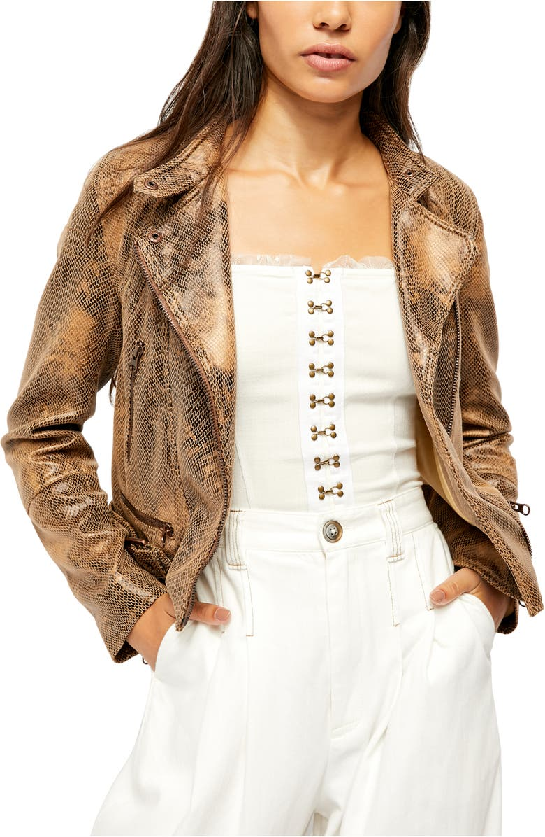 FREE PEOPLE Fenix Snake Embossed Faux Leather Moto Jacket, Main, color, PRETTY IN PYTHON