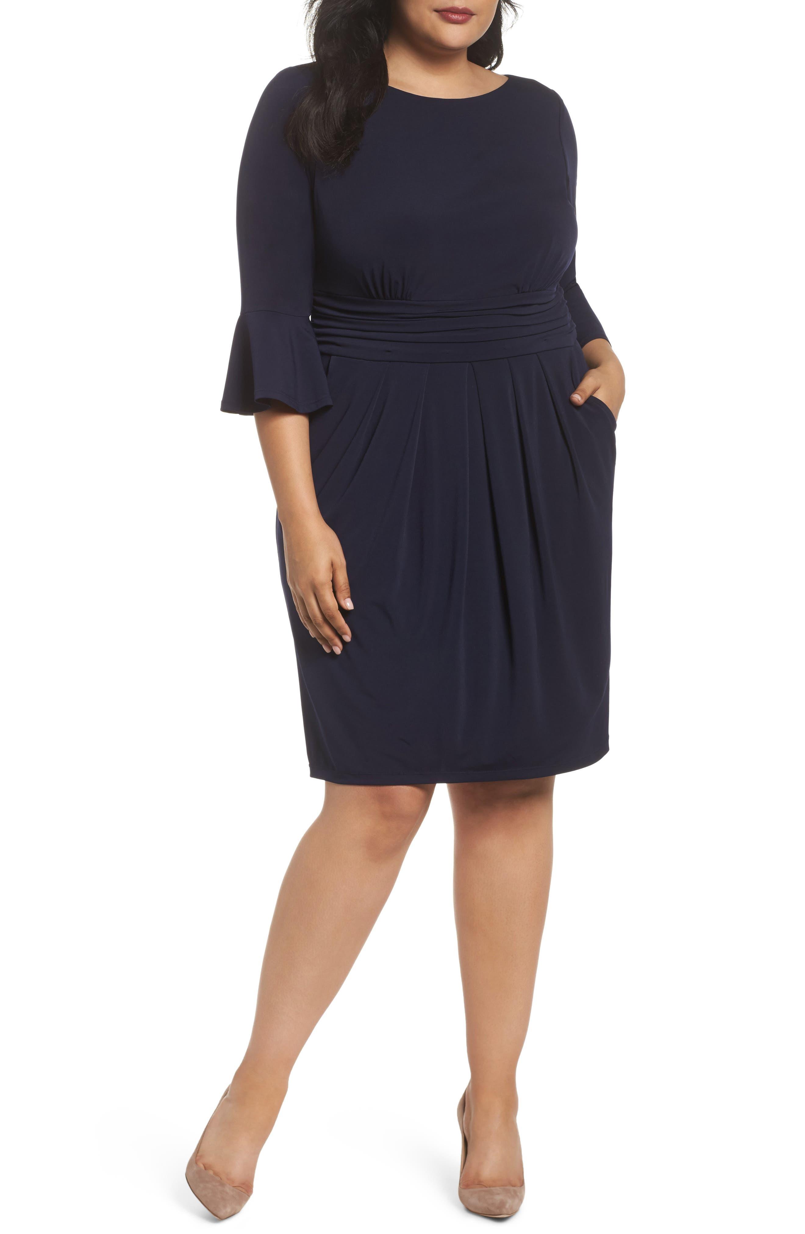 Plus Size Eliza J Bell Sleeve Sheath Dress, Blue