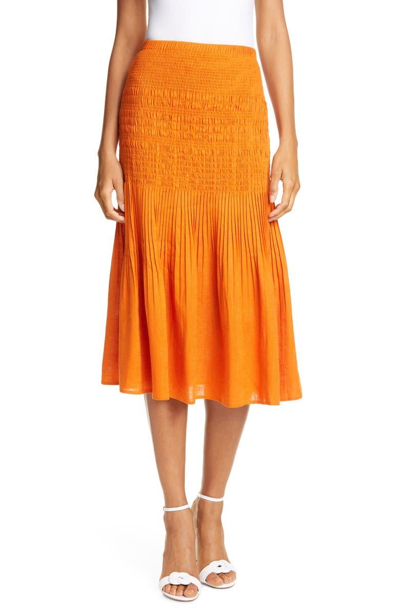 NICHOLAS Smocked Midi Skirt, Main, color, 800