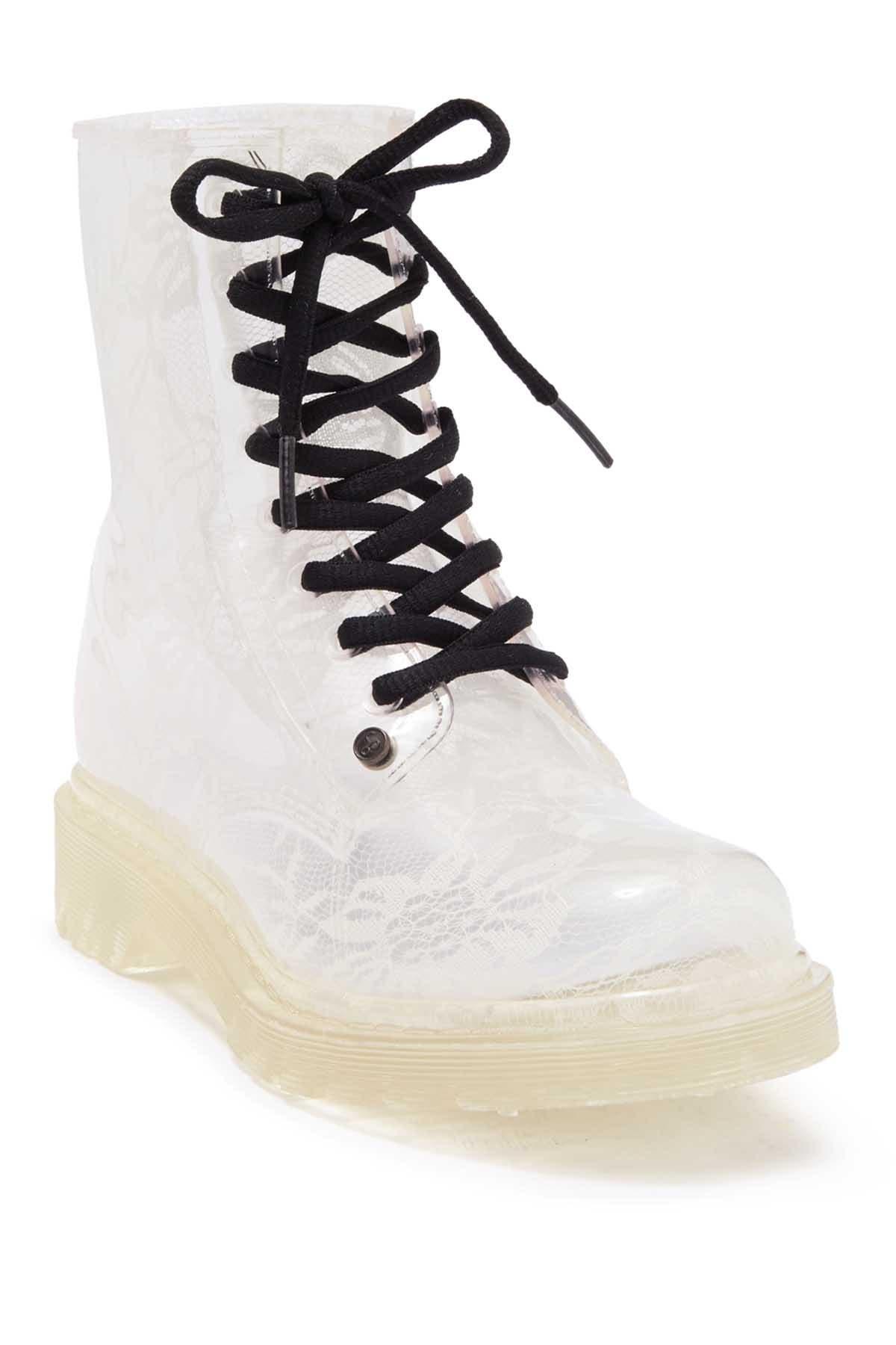 Image of Workshop Ginny White Lace Translucent Lace Up Rainboots