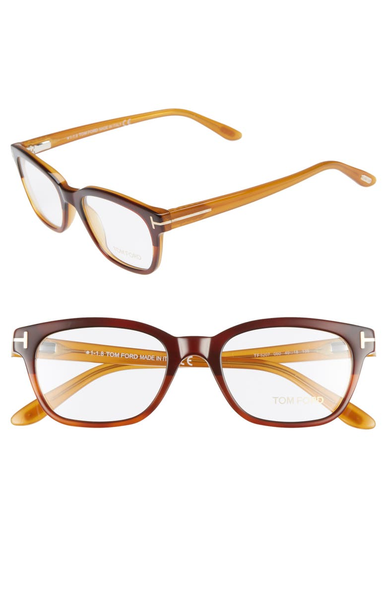 TOM FORD 49mm Optical Glasses, Main, color, CHESTNUT RED HAVANA/ OPAL